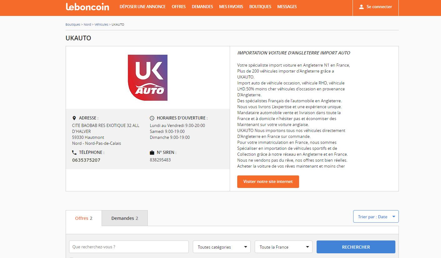UKAUTO et leboncoin en partenariat pour les annonce voiture avec la boutique le boncoin2 - UKAUTO et leboncoin en partenariat pour les annonces voitures avec la boutique le boncoin sur le boncoin.fr